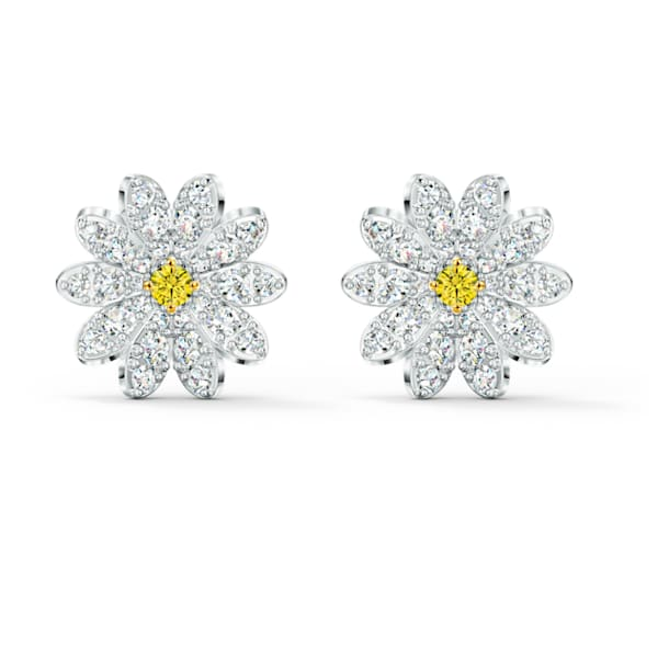 Eternal Flower Stud Pierced Earrings, Yellow, Mixed metal finish - Swarovski, 5518145