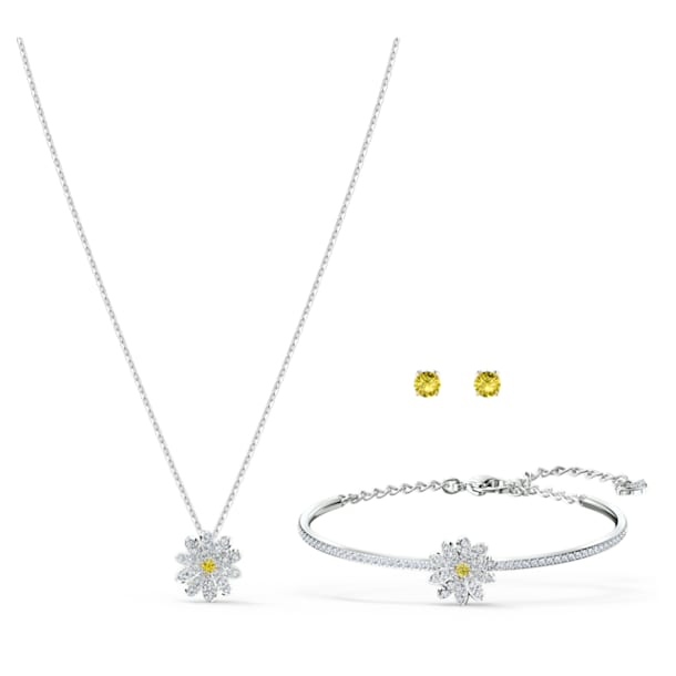 Eternal Flower set, Flower, Yellow, Mixed metal finish - Swarovski, 5518146