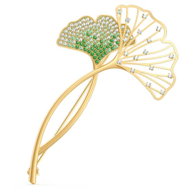 Brož Stunning Gingko, zelená, pozlacená - Swarovski, 5518174