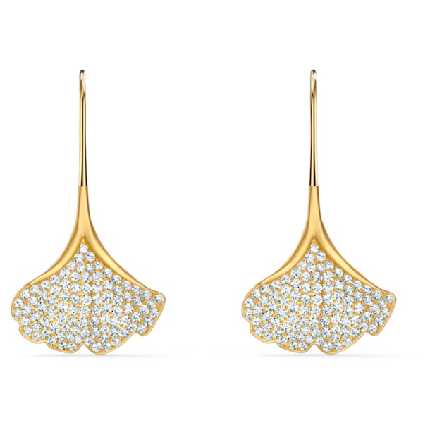 Stunning Gingko Pierced Earrings, White, Gold-tone plated - Swarovski, 5518176