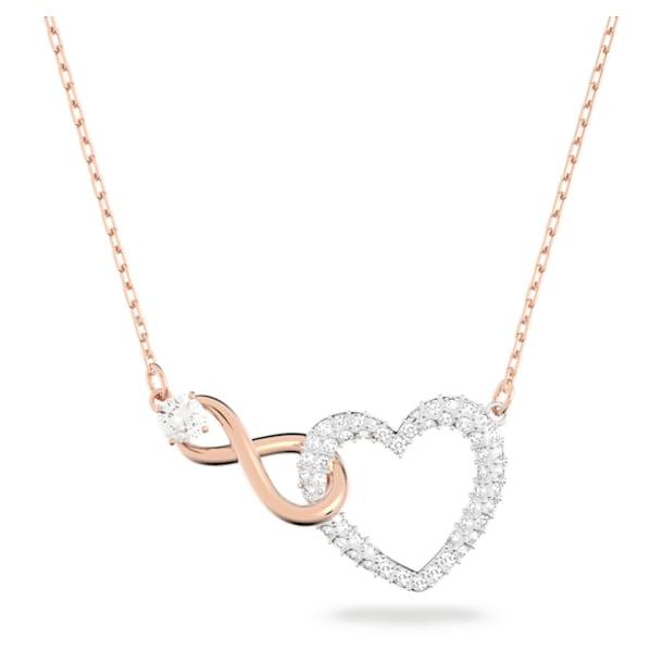 Naszyjnik Swarovski Infinity, Nieskończoność i serce, Biały, Wykończenie z różnobarwnych metali - Swarovski, 5518865