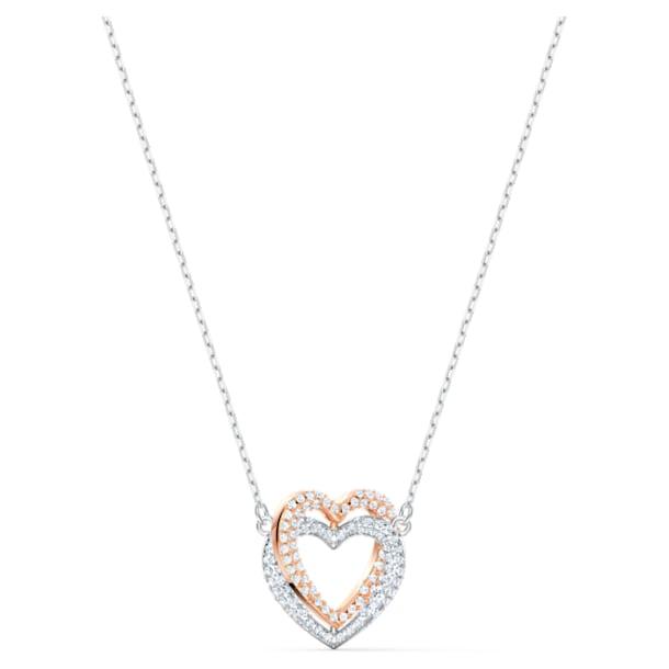 Collar Swarovski Infinity Double Heart, blanco, combinación de acabados metálicos - Swarovski, 5518868