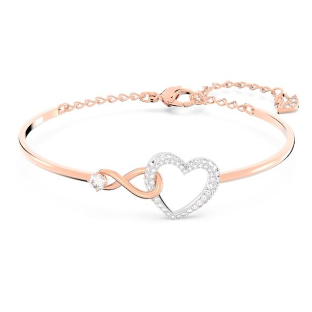 Pevný náramek Swarovski Infinity, Nekonečno a srdce, Bílá, Smíšený kovový povrch - Swarovski, 5518869