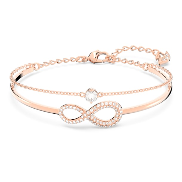 Βραχιόλι Swarovski Infinity, λευκό, επιχρυσωμένο σε χρυσή ροζ απόχρωση - Swarovski, 5518871