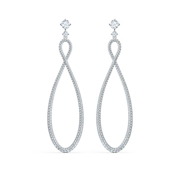 Swarovski Infinity Hoop Pierced Earrings, White, Rhodium plated - Swarovski, 5518878