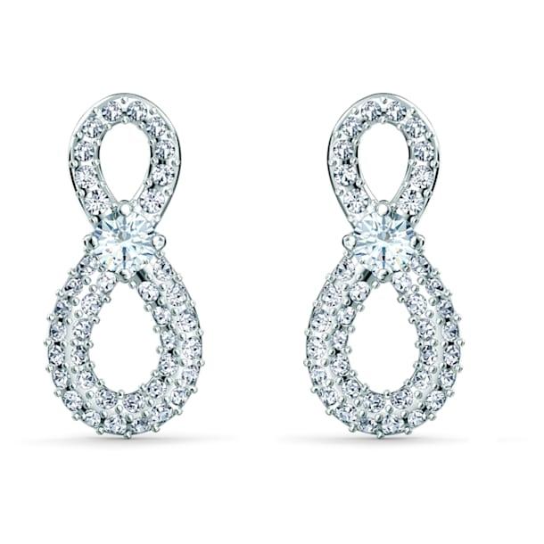 Τρυπητά σκουλαρίκια Swarovski Infinity Mini, λευκά, επιροδιωμένα - Swarovski, 5518880