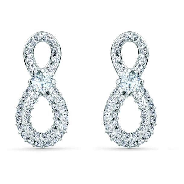 Swarovski Infinity Mini Pierced Earrings, White, Rhodium plated - Swarovski, 5518880