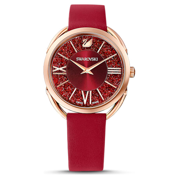 Crystalline Glam Watch, Leather strap, Red, Rose-gold tone PVD - Swarovski, 5519219