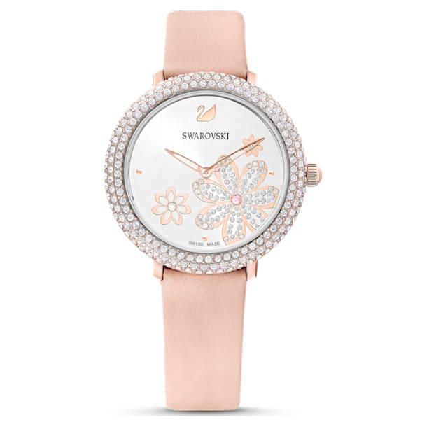 Ρολόι Crystal Frost, δερμάτινο λουράκι, ροζ, PVD σε χρυσή ροζ απόχρωση - Swarovski, 5519223