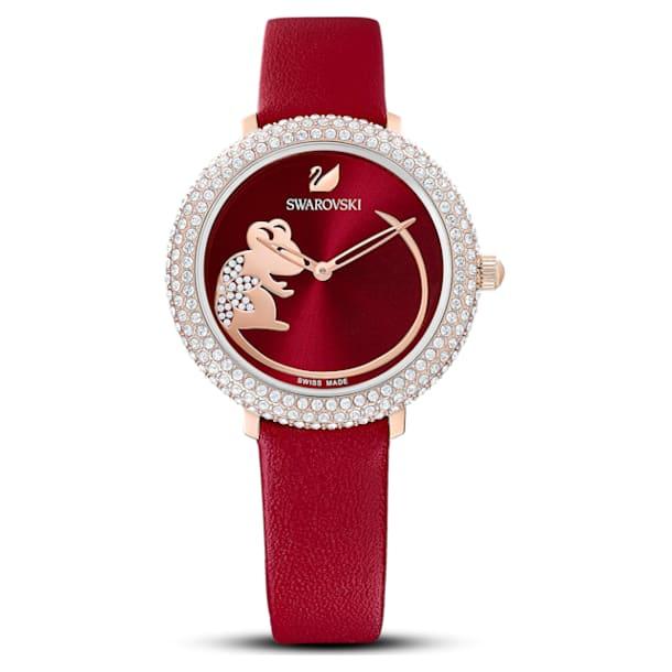 Crystal Frost 手錶, 真皮錶帶, 紅色, 玫瑰金色調PVD - Swarovski, 5519226