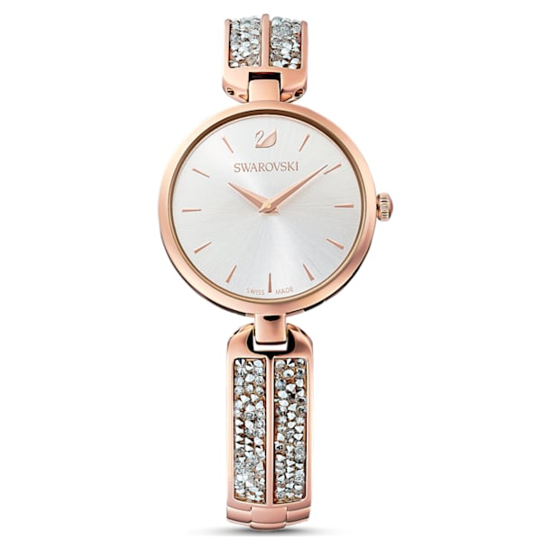 Dream Rock Watch, Metal bracelet, Silver tone, Rose-gold tone PVD - Swarovski, 5519306