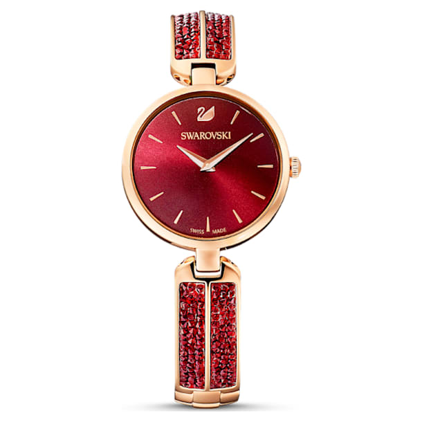 Dream Rock Uhr, Metallarmband, Rot, Roségoldfarbenes PVD-Finish - Swarovski, 5519312