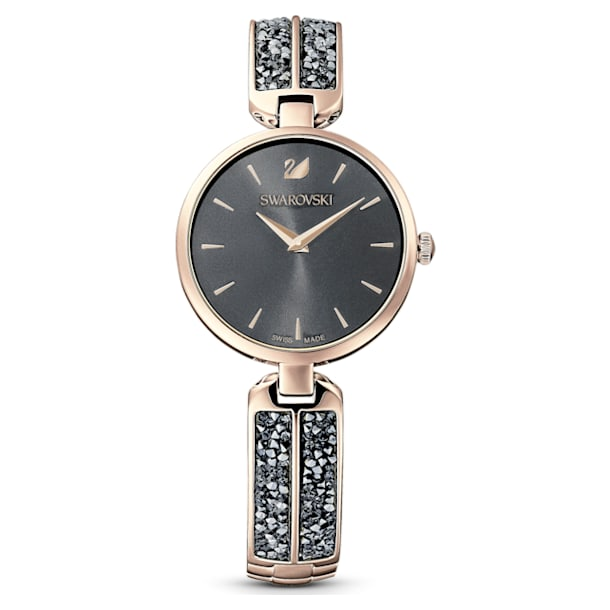 Dream Rock Watch, Metal Bracelet, Gray, Champagne-gold tone PVD - Swarovski, 5519315