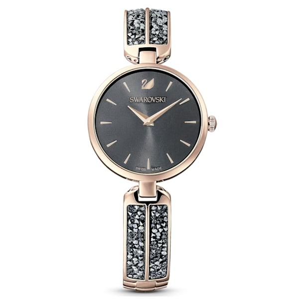 Dream Rock watch, Metal bracelet, Gray, Champagne-gold tone PVD - Swarovski, 5519315