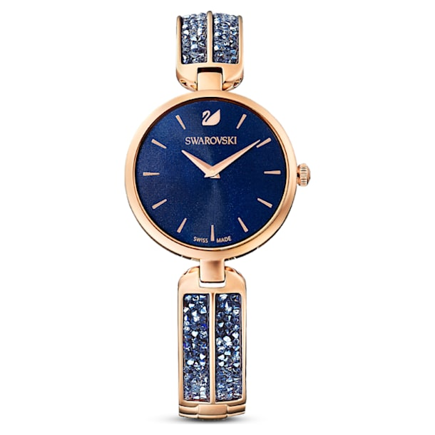 Hodinky Dream Rock, Kovový náramek, Modrá, PVD v růžovozlatém odstínu - Swarovski, 5519317