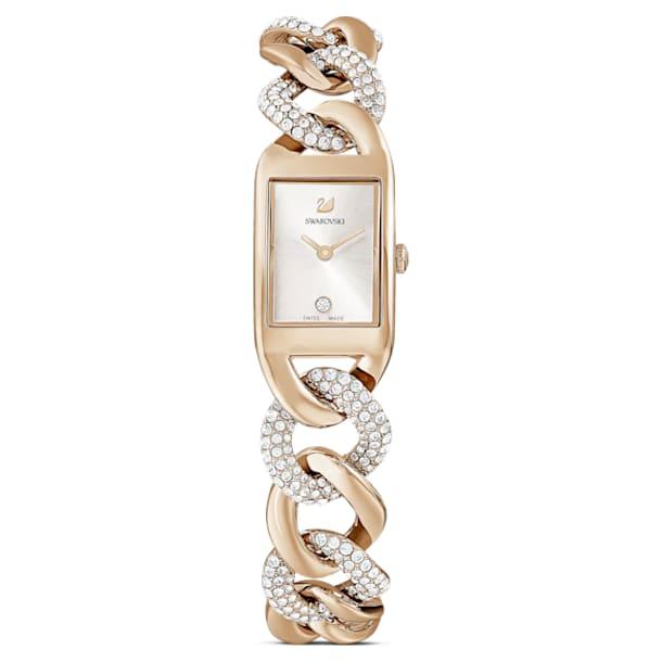 Cocktail watch, Metal bracelet, Gold tone, Champagne-gold tone PVD - Swarovski, 5519321