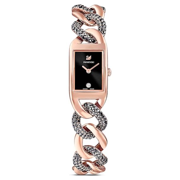 Cocktail horloge, Metalen armband, Zwart, Roségoudkleurige toplaag - Swarovski, 5519324