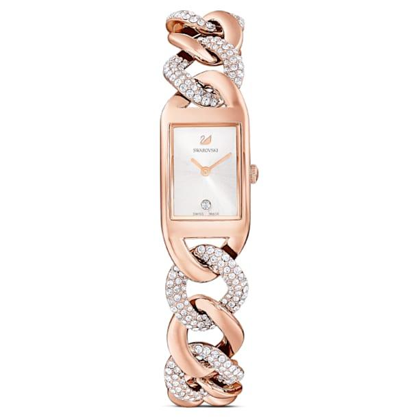 Cocktail horloge, Metalen armband, Roségoudkleurig, Rodium toplaag - Swarovski, 5519327