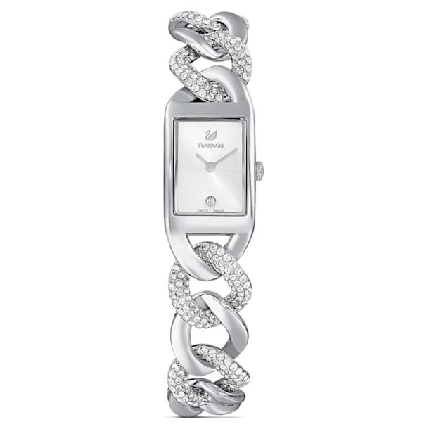 Cocktail Watch, Full Pavé, Metal bracelet, Silver tone, Stainless Steel - Swarovski, 5519330
