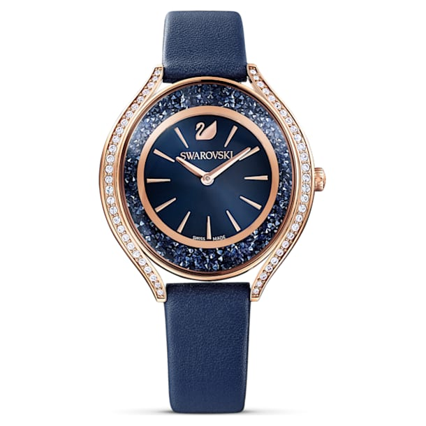 Crystalline Aura horloge, Lederen band, Blauw, Roségoudkleurig PVD - Swarovski, 5519447