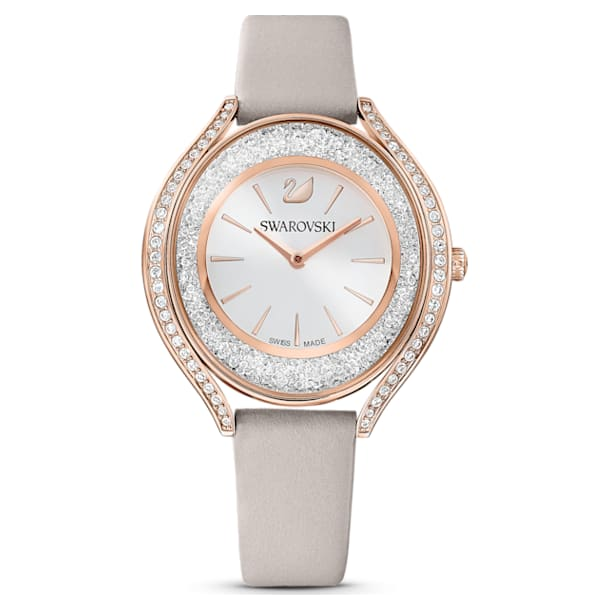 Crystalline Aura Watch, Leather strap, Grey, Rose-gold tone PVD - Swarovski, 5519450