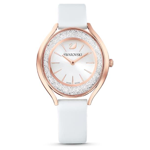 Crystalline Aura Часы, Кожаный ремешок, Белый Кристалл, PVD-покрытие оттенка розового золота - Swarovski, 5519453