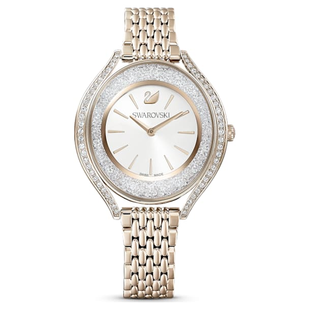 Relógio Crystalline Aura, Pulseira de metal, Dourado, PVD champanhe dourado - Swarovski, 5519456