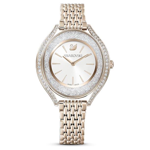 Zegarek Crystalline Aura, Metalowa bransoletka, W odcieniu złota, Powłoka PVD w odcieniu szampańskiego złota - Swarovski, 5519456