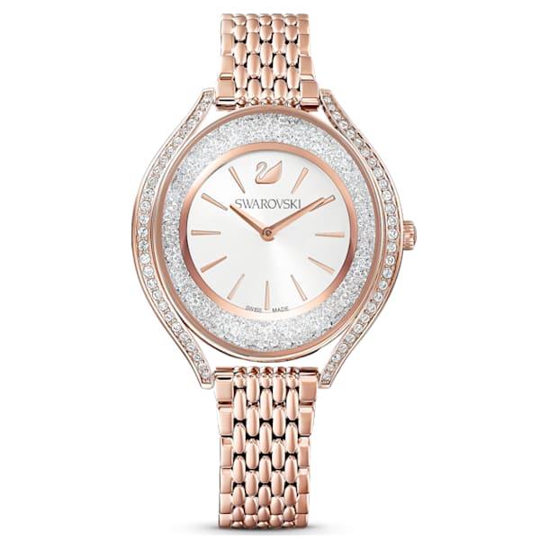 Relógio Crystalline Aura, pulseira em metal, rosa dourado, PVD rosa dourado - Swarovski, 5519459