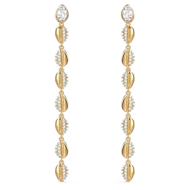 Kolczyki sztyftowe Shell Cowrie, białe, powłoka w odcieniu złota - Swarovski, 5520474