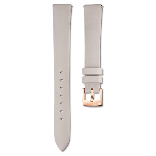 14mm Watch strap, Leather, Light gray, Rose-gold tone plated - Swarovski, 5520529