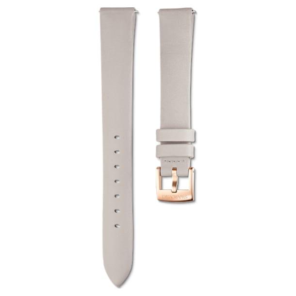 14mm Watch strap, Leather, Light gray, Rose-gold tone plated - Swarovski, 5520530