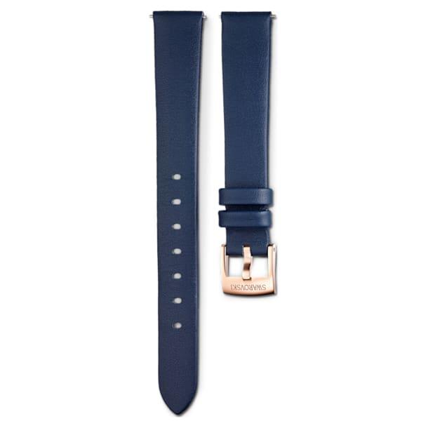 14 mm-es óraszíj, bőr, kék, rozéarany árnyalatú bevonattal - Swarovski, 5520531