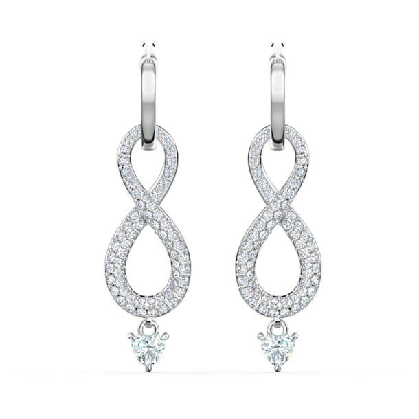 Swarovski Infinity 穿孔耳环, Infinity, 白色, 镀铑 - Swarovski, 5520578