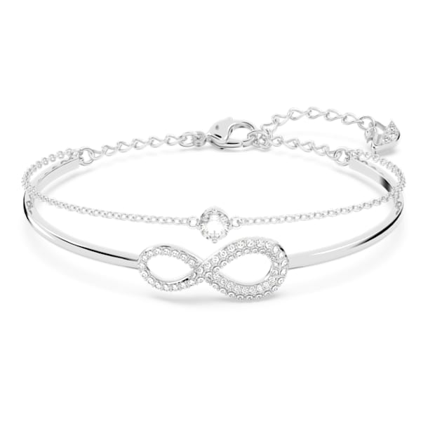 Swarovski Infinity Bangle, White, Rhodium plated - Swarovski, 5520584
