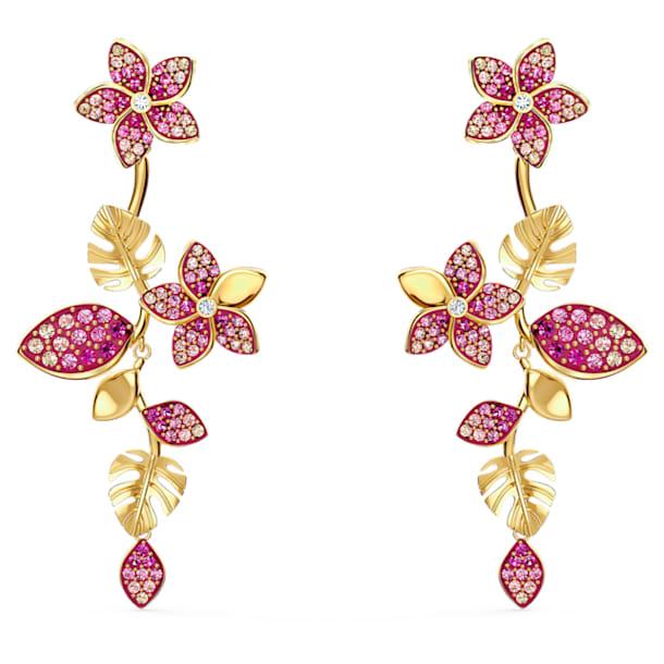 Boucles d'oreilles Tropical Flower, rose, métal doré - Swarovski, 5520648