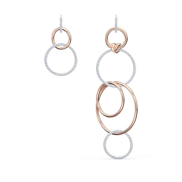 Lifelong Heart 大圈耳环, 不对称, 心形, 白色, 多种金属润饰 - Swarovski, 5520652