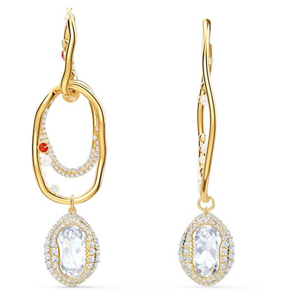 Shell Pierced Earrings, Large, Light multi-coloured, Gold-tone plated - Swarovski, 5520663