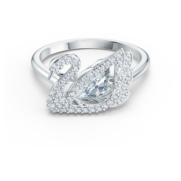 Dancing Swan Ring, White, Rhodium plated - Swarovski, 5520712