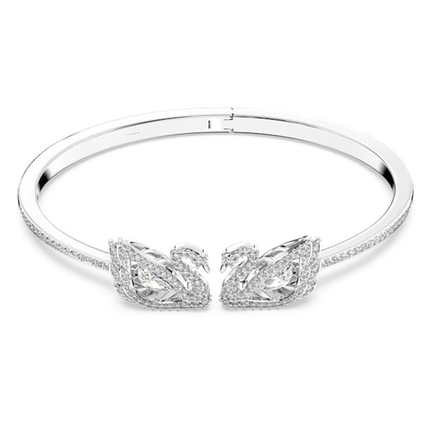 Bracciale rigido Dancing Swan, Cigno, Bianco, Placcato rodio - Swarovski, 5520713