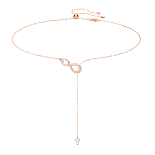 Κολιέ σε σχήμα Υ Swarovski Infinity, Άπειρο, Λευκό, Επιμετάλλωση σε ροζ χρυσαφί τόνο - Swarovski, 5521346