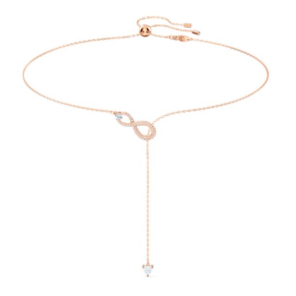 Swarovski Infinity Y-nyaklánc, Végtelenség, Fehér, Rózsaarany-tónusú bevonattal - Swarovski, 5521346