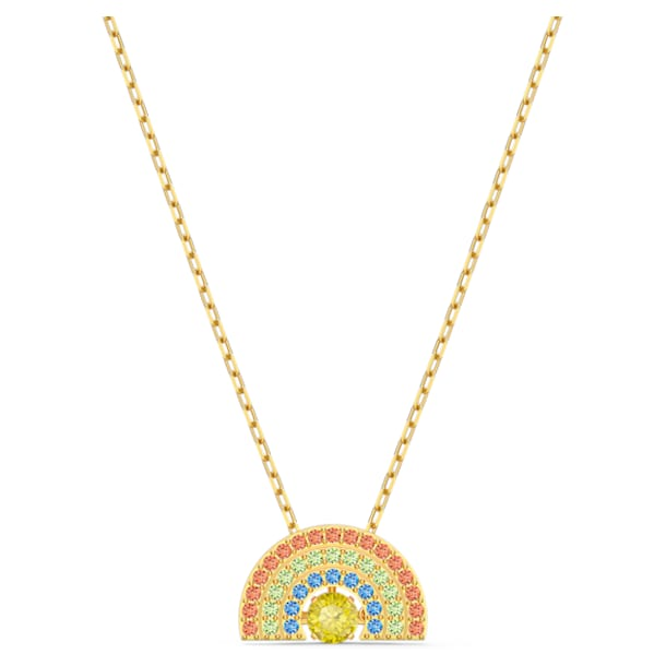 Swarovski Sparkling Dance Rainbow Necklace, Light multi-coloured, Gold-tone plated - Swarovski, 5521756