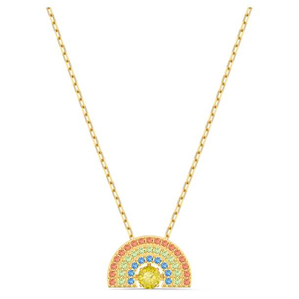 Swarovski Sparkling Dance Rainbow nyaklánc, világos, többszínű, arany árnyalatú bevonattal - Swarovski, 5521756