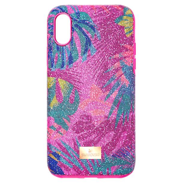 Coque rigide pour smartphone avec cadre amortisseur Tropical, iPhone® X/XS, multicolore sombre - Swarovski, 5522096