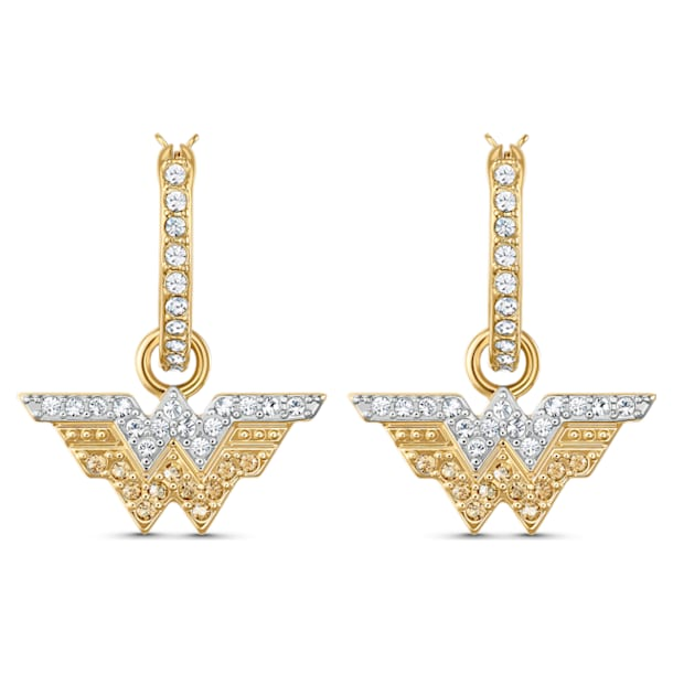 Fit Wonder Woman hoop earrings, Wing, Gold tone, Mixed metal finish - Swarovski, 5522301