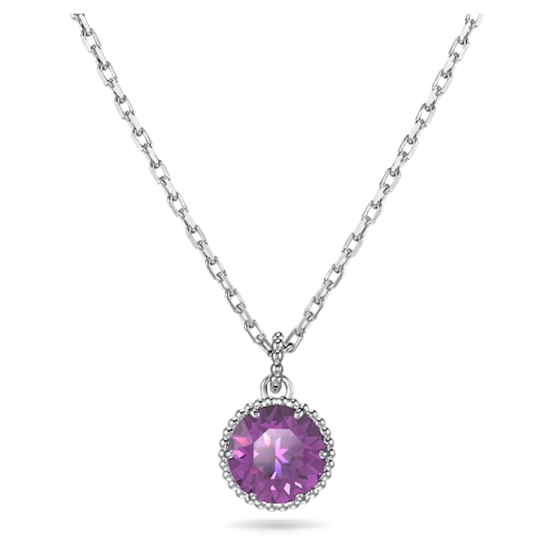 Birthstone Pendant, February, Purple, Rhodium plated - Swarovski, 5522773