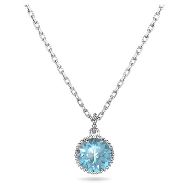 Birthstone pendant, March, Blue, Rhodium plated - Swarovski, 5522774