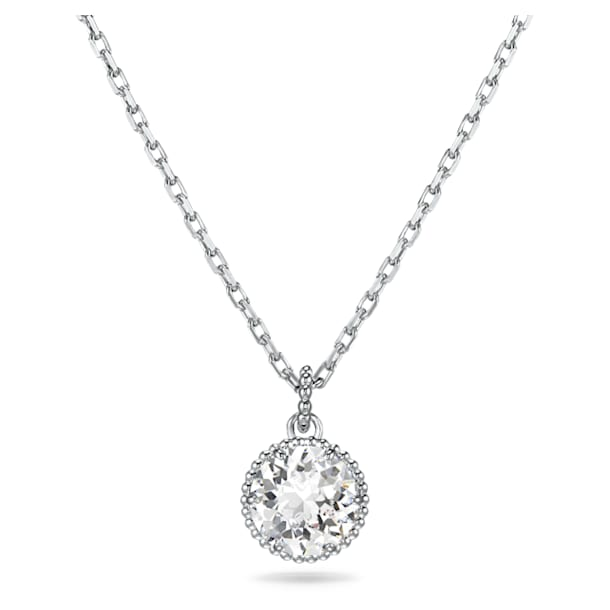 Birthstone Pendant, April, White, Rhodium plated - Swarovski, 5522775