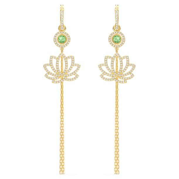 Pendientes Swarovski Symbolic Lotus, verde, baño tono oro - Swarovski, 5522840